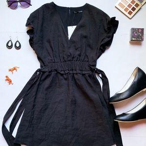Zara Ruffle Sleeve Little Black Dress NWT